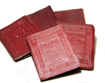 Five Small Antique Little Leather Books Poe Washington Wilde Stevenson Schreiner