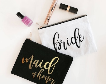 Maid of Honor Gift Bag - Maid of Honor Cosmetic Bag - Maid of Honor Makeup Bag - Matron of Honor Gift Ideas - Maid of Honor Bag (EB3222BP)