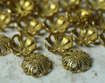 Gold finish filigree bead cap 9mm, 60 pcs (item ID B0528GFBC9)