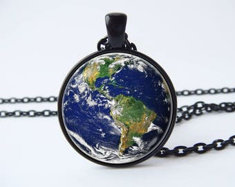 Men necklace Women necklace Earth Planet pendant Space jewellery Galaxy Solar system Cosmic gift Universe Astronomy gift NASA Outer space