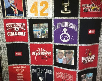 T-shirt Quilt Custom Made - Memory Quilt Made from 9 - 49 t-shirts