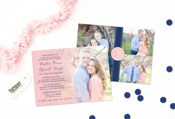 Pink And Navy Blue Wedding Invitations: Pink And Navy Wedding Invitation Navy Blue Wedding
