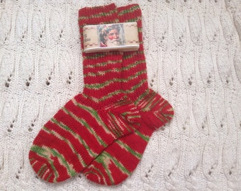 Hand Knit Christmas Socks and Santa Soap Gift Set