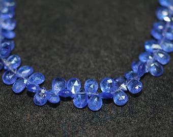AAA quality Natural Tanzanite Faceted Pear Shape Briolettes Beads / 4x6-5x7 mm / 8 inches