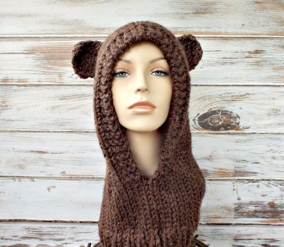 Womens Brown Mama Bear Knit Hooded Cowl Hat Snood - Womens Accessories Fall Fashion Winter Hat - 34 Color Choices