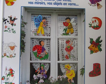 """""""68 repositionable decorations in stained glass painting"""" book - decorate windows, mirrors, glassware"""