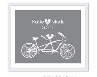 Custom Wedding Print - Love Poster- Tandem Bike and birds - Wall Art - Slate Grey