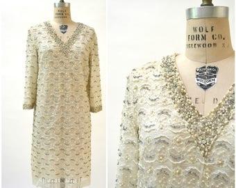 Vintage 60s Lace Dress Sequin Dress Large Metallic Cream Rhinestone Beaded Lace Dress Wedding Dress Size Large