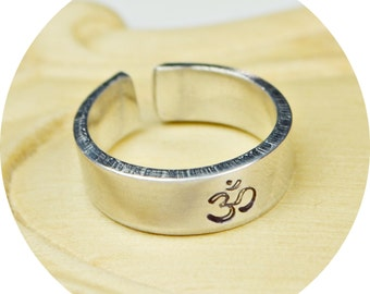 Om Yoga Adjustable Ring- Hand Stamped Aluminum Ring- Any Size- Size 4, 5, 6, 7, 8, 9, 10, 11, 12