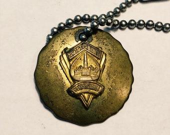 Antique Brass Gettysburg Medallion Pendant - 1930s? - Rare Gettysburg Pendants - Civil War collectibles - Battle of Gettysburg - Union