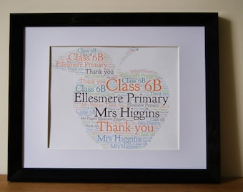 Personalised Word Art Print Apple Teacher Thank you School Apple Nursery gift card Frame