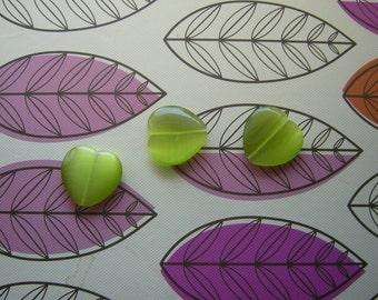 Apple Green 24mm Puffy Heart, Cat's-eye Fiber Optic beads, Lot of 3