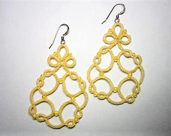 Yellow Tatted Lace Earrings, Yellow Earrings, Yellow Lace Earrings, Yellow Beaded Earrings, Yellow Jewelry, Beaded Earrings, Lace Jewelry
