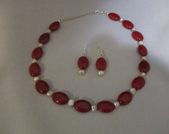 Brazilian Red Ruby Necklace and Earring Set