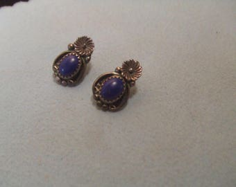 Vintage Native American Indian earrings -  Lapis Lazuli -sterling silver- signed  FREE SHIPPING SALE
