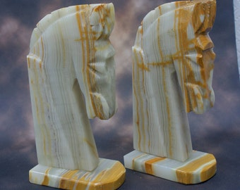 Beautiful Carved Stone Horse Head Bookends
