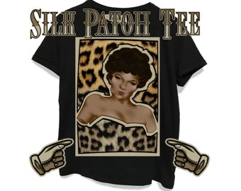 Eartha Kitt Leopard Animal Americana Retro Hand Drawn Silk Patch Print Women's Relaxed T-Shirt Made To Order