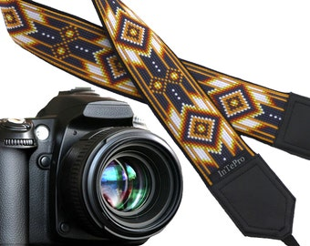 Inspired by Native American camera strap.  Southwestern camera strap.  Black, white, light brown camera strap. Camera accessories by InTePro