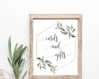 Cards and Gifts Sign, Cards Sign Wedding, Printable Cards Sign, ,Greenery Wedding Sign, Wedding Decor Signs, Cards Sign for Wedding box