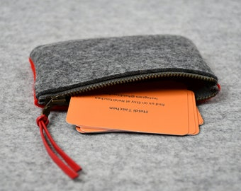 Business Card Pouch, Small Wallet, Mother's Day Gift Ready to Ship, Credit Card Holder, Zipper Pouch, Minimalist Wallet, Change Purse
