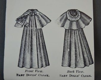 Vintage Doll Clothing Clothes Pattern - late 1890s style Cloak with Hood 12 to 14 inch baby Doll - Carter Craft Doll House #27