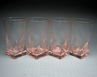 set of four pink MORGANTOWN swirl / twist glasses ( 4 more available on request )