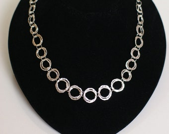 Hammered Ring Sterling Silver Necklace