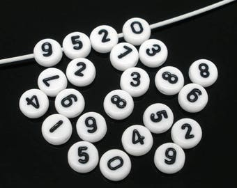 10 beads spacer number white acrylic