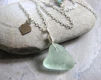 Sea Glass Heart Necklace, Valentines Day Sterling Silver Seaglass Jewelry, Seafoam Blue/Green Heart Pendant, Ocean Beach Jewelry