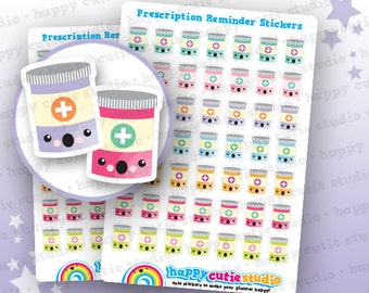 49 Cute Prescription/Medicine/Pills/Reminder Planner Stickers, Filofax, Erin Condren, Happy Planner,  Kawaii, Cute Sticker, UK