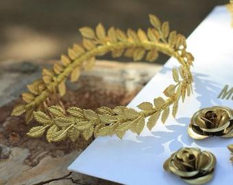 gold leaf crown laurel tiara grecian leaf back headpiece boho bridal headband laurel leaf metal gold wedding back hair comb