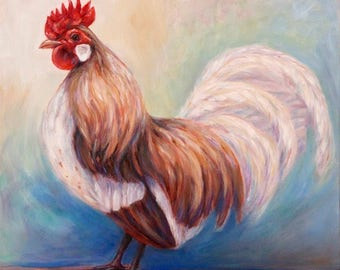 SOLD-Original Rooster Painting in oil on canvas-'Good Luck Rooster' #2