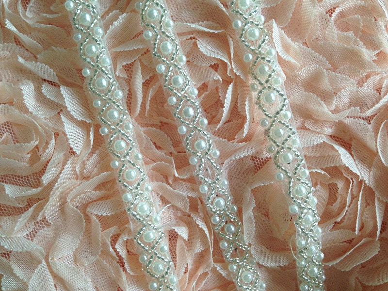 Ivory Beaded Lace Trim Pearl Lace Trim For Wedding Sash