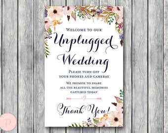 Pink Buttercup Unplugged Wedding Sign, Unplugged Ceremony Sign, Printable Wedding Sign, Printable sign, Wedding decoration sign TH35