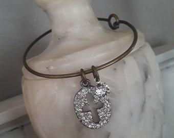 Trinket Bangle- Vintage pave rhinestone Cross Charm bracelet