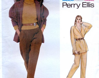 Vogue American Designer 2356 Sewing Pattern by Perry Ellis for Misses' Jacket and Pants - Uncut - Size 12 - Bust 34