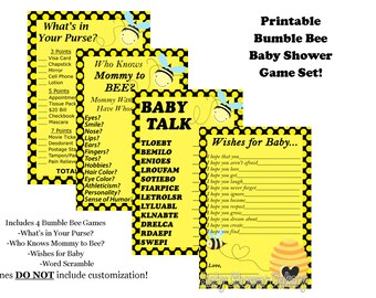 Bee Baby Shower Game Pack, Mommy to Bee Baby Shower Game, Bumble Bee Baby Shower, Bee Theme Shower, Mommy to Bee Theme Baby Shower Game Pack