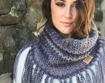 Purple Cowl with Fringes