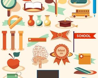 School Classroom Education Clipart - Teacher Classroom Clip Art - 24 Digital Download Graphic Design Elements - Student Resources