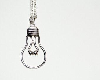 Lightbulb Necklace, Bulb Pendant, Lightbulb Charm, Idea Necklace, Lightbulb Silhouette, Light Bulb Necklace, Bulb Necklace, Lightbulb Moment