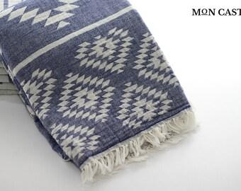 Kilim Aztec Blanket | Double Sided | Throw Blanket | Bohemian Throw Blanket | Turkish Throw | Beach Blanket | Cotton | Aztec Throw | Navy