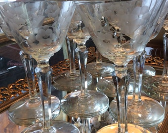 Complete Set of 10 Crystal Etched Cordial Glasses, C.1940s