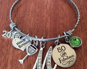 MILESTONE Jewelry, 50 Milestone Gift, 50th Birthday Gift, 50 And Fabulous Gifts, 50 Milestone Birthday, 50 Years Old, 50th Jewelry Bracelet
