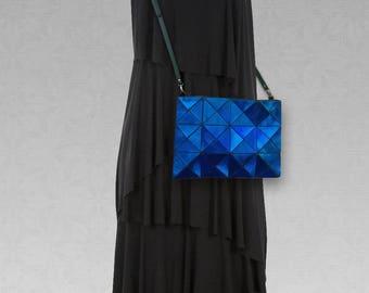 Blue Leather cross body Bag, cobalt blue metallic Leather crossbody bag, Womens Purse, Leather Crossbody, Women blue Bag, Metallic Leather