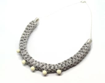 Braided tassels + gray fabric necklace