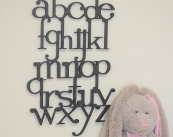 Wooden Alphabet Set - Wooden Wall Letters for Nursery- Kids Room Decor -  Wooden letters connected - Full set ABC Sign