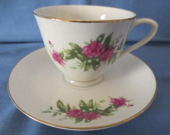 Vintage Pink Rose Tea Cup and Saucer Tientsin Porcelain