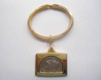 1 Vintage Goldplated Mercury Dime Key Ring Key Chain