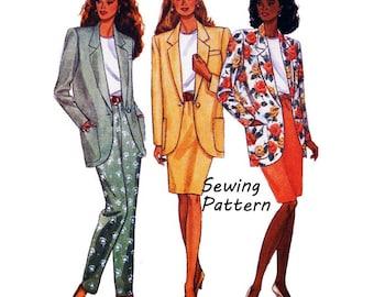 "Butterick 6593 Woman's Suit Jacket, Pencil Skirt, Tapered Pants, Top Sewing Pattern Size XS- M Bust 30.5- 36"" /56- 61cm Vintage 1990's UNCUT"