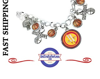 HOUSTON Basketball Charm BRACELeT, Multiple Cabochons, CHooSE from 3 Designs - Super CUTE!  +FREE SHiPPiNG & Discounts*